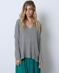 +V-neck sweater top with pierced details