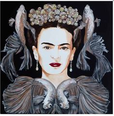 Frida With Japanese Fighting Fish and Bubble Crown Sarah Ashley Longmore Diego Rivera Frida Kahlo, Frida And Diego, Painting Collage, Encaustic Painting, Paintings, Manado, Artist Wall, Frida Art, Artwork Images