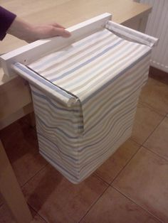 Wall hanging laundry fabric basket or hamper - with 1 bin - striped IKEA fabric - light blue stripes with white / grey stripes