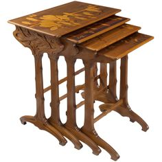Emile Gallé French Art Nouveau  Nesting Tables | From a unique collection of antique and modern nesting tables and stacking tables at http://www.1stdibs.com/furniture/tables/nesting-tables-stacking-tables/