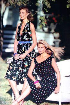 Carol Alt and Christie Brinkley in dresses from Manuela (Nice), photo Mike Reinhardt, Elégance Paris Spring/Summer 1981