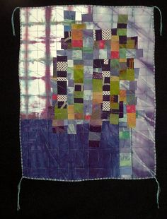 """Villages l"" Art Quilt. 17"" x 22"".  Hand dyed cottons and silks, vintage kimono pieces. Fused and machine quilted."