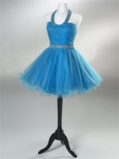 Short Beaded Halter and waistband Open back Zipper Tulle Satin Homecoming Dress HD1031 www.homecomingstore.com $126.0000
