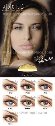 Adore Bi-Tone colored contact lenses - Gray, Green, Blue, Aqua, Yellow, Hazel, Honey. #eye #color #contacts Italian Colored Contacts