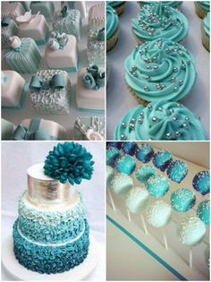 Candy table for a  turquoise and grey wedding
