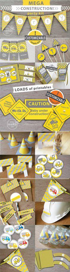 INSTANTÁNEA descargar parte de construcción, construcción cumpleaños, partido imprimibles, imprimibles del grupo de construcción, decoraciones de fiesta de la construcción