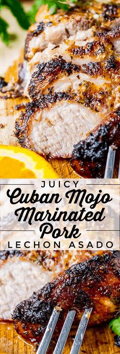 Cuban Mojo Marinated Pork from The Food Charlatan. Atraditional Cuban roasted pork recipe that is very simple, yet packed with tons of flavor!There is nothing to this pork except an amazing marinade, butit is honestly some of the best meat I've ever put in my mouth. Just look at that crust! #cuban #mojo #marinade #easy #recipe #pork #shoulder #roast #holidays #thanksgiving #christmas #easter Pork Roast Recipes, Pork Tenderloin Recipes, Meat Recipes, Mexican Food Recipes, Cooking Recipes, Roast Brisket, Game Recipes, Beef Tenderloin, Marinade For Pork Roast