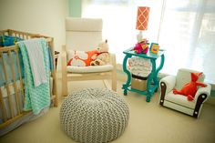 I like the pop of color this end table adds to the more neutral room. Project Nursery, Nursery Ideas, Room Ideas, Happy Baby, Baby Boy Nurseries, Baby Decor, Foot Rest, Baby Room, Kids Toys