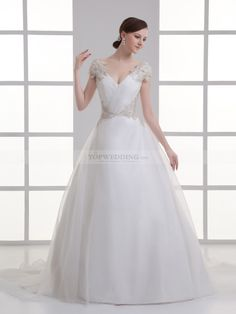 V Neck Organza over Satin Ball Gown with Appliqued and Lace Up Back