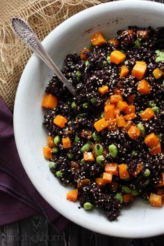 Forbidden Rice w/ Butternut Squash & Edamame #12WeeksofWinterSquash #sidedish via @girlichef