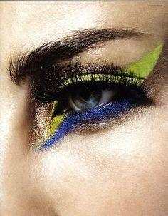 Graphic eye shadow. Very glam rock.