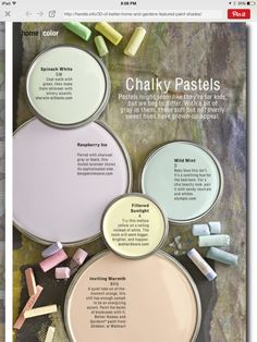 Better Homes and Gardens Chalky Pastels these calming colors would be nice in a nursery
