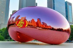 I made the Cloud Gate sculpture into a giant jelly bean. It was a too obvious idea but I had to do it to get it out of my brain. Jelly Belly, Guerrilla, My Brain, Gate, Clouds, Sculpture, Travel, Viajes, Sculpting