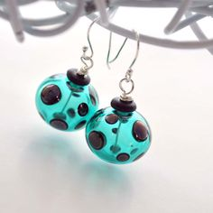 Teal Polka Dot Glass Earrings on Sterling Silver by bstrung
