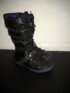 Sparkle Glitter black studded boots
