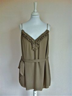 Paul and Joe Taupe Silk Ruffle Top via The Queen Bee. Click on the image to see more!