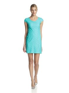 Taylor Dresess Women's Cap Sleeve Lace Dress in Turquoise.