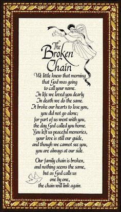 Sympathy Poem - Broken Chain - Miscellaneous - Gifts broken chain