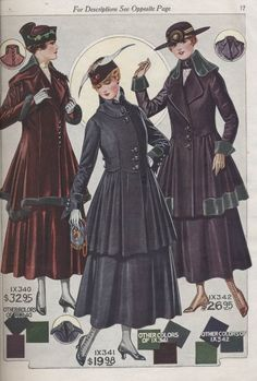 Ladies' suits in 1916-1917 Fall and Winter Catalogue No. 74 by Bellas & Co