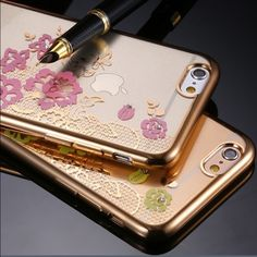 iPhone 6 Plus case Soft plastic with floral design and gold trim case. Accessories Phone Cases
