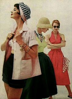 Chic solid colour summertime separates, 1950s. #vintage #1950s #summer_fashion