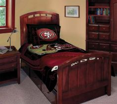 "NFL San Francisco 49ers Football Team Comforter Set with 2 Shams for Twin or Full Bed by NFL. $47.99. Adorned with team logo and colors. Officially licensed NFL product.. One comforter 72"" x 86"", 2 pillow sham 30"" s 24"".. Care Instruction: Machine washable.. Made of 100% polyester.. This is a beautiful officially licensed Northwest NFL® team comforter set. A must have for any 49ers fans."