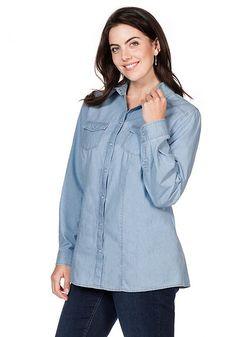 sheego Casual Bluse - blue Denim | Damenmode online kaufen
