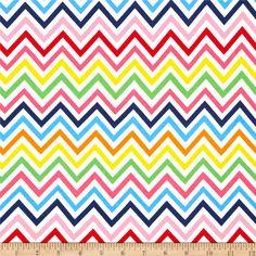 Kaufman Laguna Stretch Jersey Knit Zig Zag Rainbow from @fabricdotcom