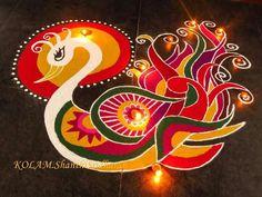 Rangoli Design Ideas & Images For Diwali & Happy New Year Here you will get Happy Deepavali Rangoli Design idea to draw. Rangoli Designs Peacock, Indian Rangoli Designs, Simple Rangoli Designs Images, Rangoli Patterns, Rangoli Ideas, Beautiful Rangoli Designs, Mehandi Designs, Peacock Design, New Year Rangoli
