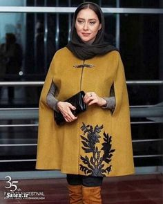 Street Hijab Fashion, Abaya Fashion, Suit Fashion, Fashion Models, Fashion Dresses, Iranian Women Fashion, Scarf Design, Mode Hijab, Trendy Dresses