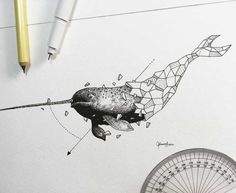 Oeuvre by Kerby Rosanes - Le narval (Série Geometric Beasts) Geometric Drawing, Geometric Art, Geometric Animal, Animal Sketches, Animal Drawings, Hahn Tattoo, Narwhal Drawing, Tattoo Drawings, Tatoo