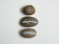 Air and Earth 2 - Collection of 3 Painted Stones with Nature Inspired Designs - by Natasha Newton on Etsy, $41.49