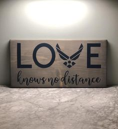 Air Force Love Sign Loves Knows No Distance Military Home Decor Fathers Day Gift Custom Wood Sign Bog Road Designs Military Home Decor, Military Crafts, Military Signs, Military Party, Custom Wood Signs, Wooden Signs, Air Force Girlfriend, Military Girlfriend, Military Spouse