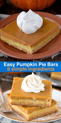Keto Discover Easy Pumpkin Pie Bars Easy pumpkin pie bars with a classic pumpkin pie filling and a 2 ingredient cake mix crust. Made in a inch pan these pumpkin pie bars are amazing! Köstliche Desserts, Delicious Desserts, Dessert Recipes, Health Desserts, Easter Recipes, Plated Desserts, Dinner Recipes, Pumpkin Pie Recipes, Cookie Recipes