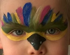 Make-up as a parrot for my little girl to the carnival … she loved it - Prom Makeup Joker Halloween Costume, Matching Halloween Costumes, Halloween Makeup, Parrot Costume, Face Paint Makeup, Kids Makeup, My Little Girl, Beauty Hacks, Carnival