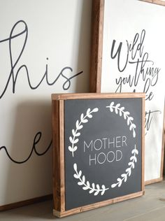 MOTHERHOOD painted wood sign 14 x 14 in by huntandgathergoods