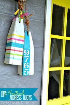 DIY Address and Patriotic Buoys - DIY House Numbers - 30 Unique Ideas to Display Your House Number Hamptons Decor, Coastal Cottage, Coastal Decor, Coastal Living, Coastal Curtains, Coastal Entryway, Seaside Decor, Coastal Bedrooms, Coastal Farmhouse
