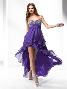 Spaghetti Straps High-Low beaded bodice Chiffon prom dress PD10332