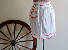 Apron Vintage Aprons Half Apron White Sheer Red Trim Floral 1960's by TreasureCoveAlly on Etsy