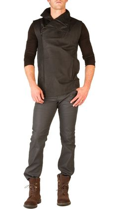 Distressed Leather Sleeveless Jacket
