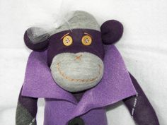 Sock Monkey Doll Plush Toy  In Purple and by AsYouWishCreations4u, $32.00