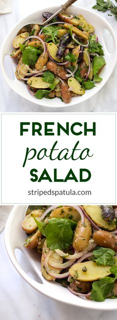 Fingerling potatoes are tossed with a Dijon mustard vinaigrette, capers, and peppery baby arugula