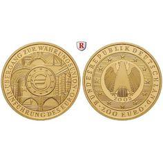 Bundesrepublik Deutschland, 200 Euro 2002, Einführung des Euro, nach unserer Wahl, A-J, 31,1 g fein, st, J. 494: 200 Euro 31,1 g… #coins