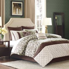 8 Piece Monica Sage/Chocolate Comforter Set Queen #KingLinen #TraditionalPatternedClassic