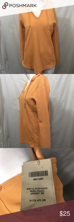 """NWT Duluth Trading Co Performance Women's Hoodie S New with tags. Performance waffle hoodie. Light Orange in color,  Duluth calls this apricot. Size small. Measurements (approximate): bust: 38"""" around, length: 25"""", sleeve length: 31"""". Duluth Trading Co Tops Tees - Long Sleeve"""