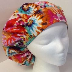 Tie Dye Adjustable Large Medical Bouffant OR Scrub Cap Surgery Hat #Handmade