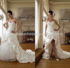taffeta hi-low wedding dress front short and back long bridal gowns