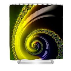 "Fractal Spiral Shower Curtain: Decorative fractal spiral, yellow, brown, blue and green tones.  This shower curtain is made from 100% polyester fabric and includes 12 holes at the top of the curtain for simple hanging.  The total dimensions of the shower curtain are 71"" wide x 74"" tall. Matthias Hauser hauserfoto.com - Art for your Home Decor and Interior Design needs."