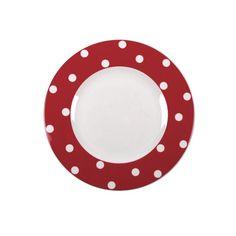 Assiette plate ronde porcelaine Freshness Dots rouge - Bruno Evrard Création