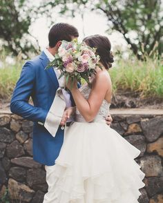 Groom and Bride Style + bridal bouquet by Petals - wedding by Bliss -- Maui Maka Photography